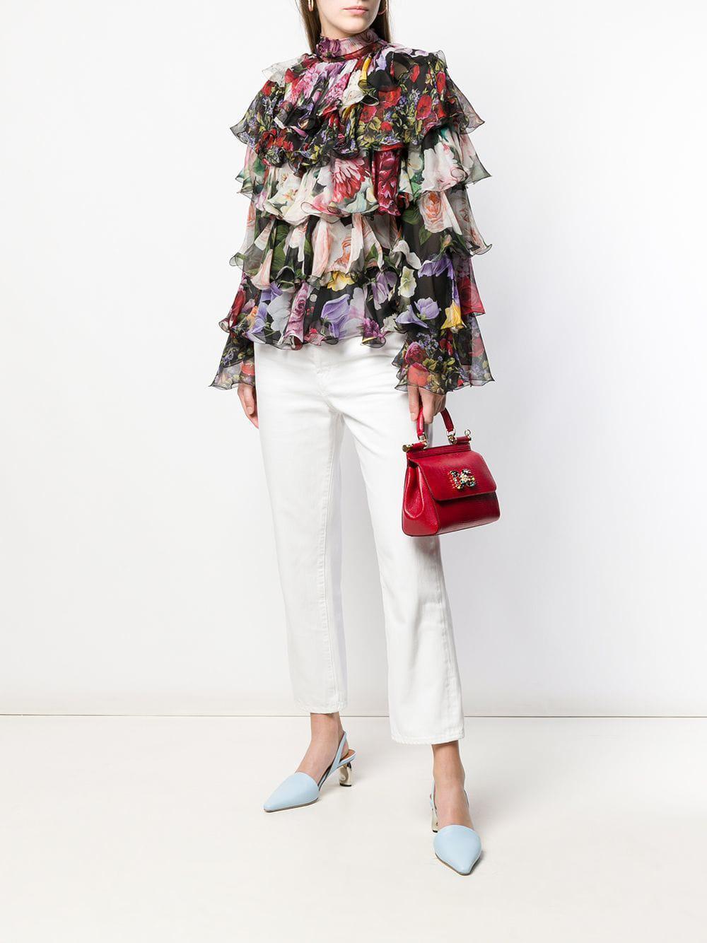 Blouse volantée à fleurs Soie Dolce & Gabbana en coloris Noir