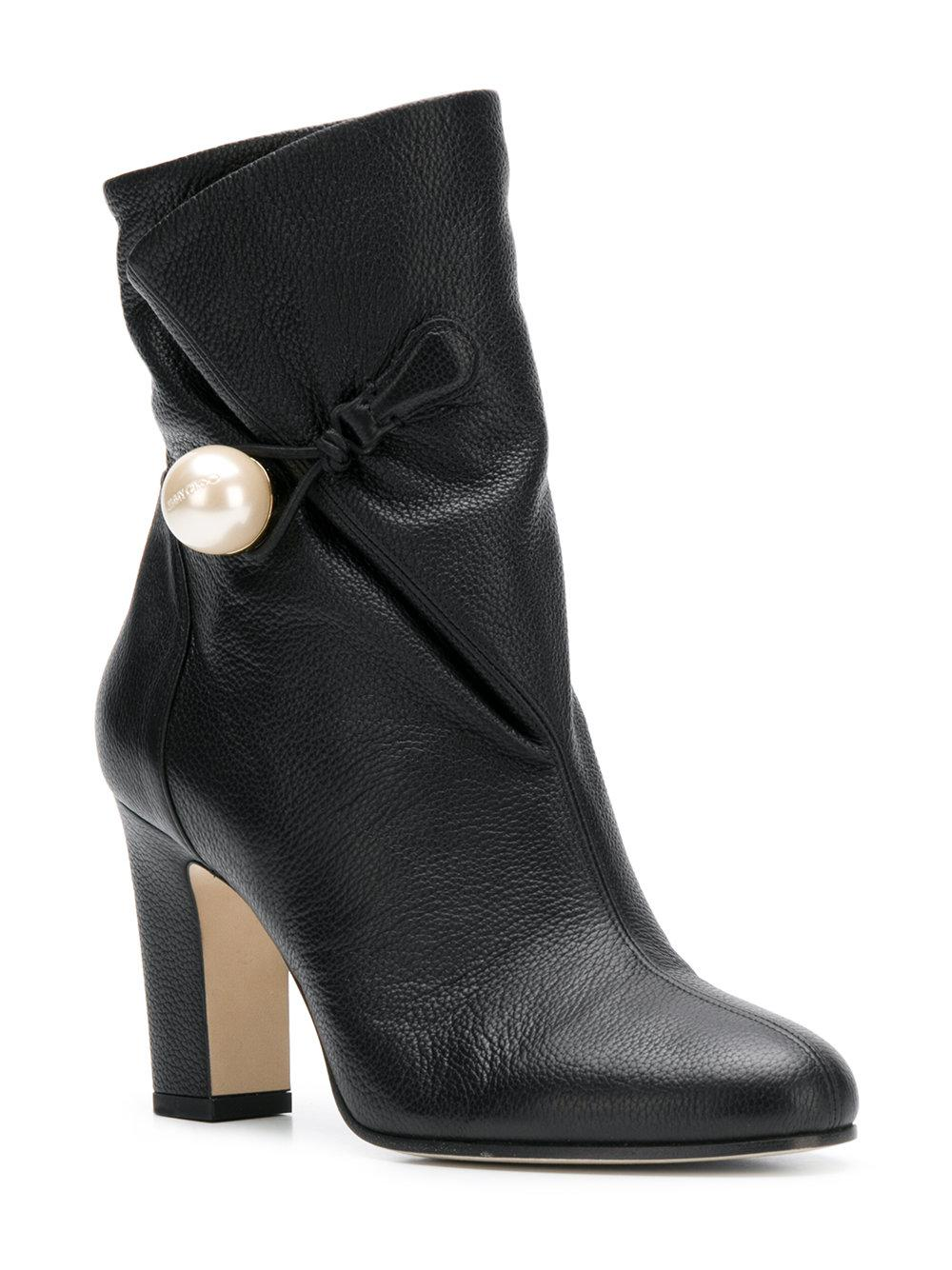 Jimmy Choo Leather Bethanie 85 Ankle Boots in Black