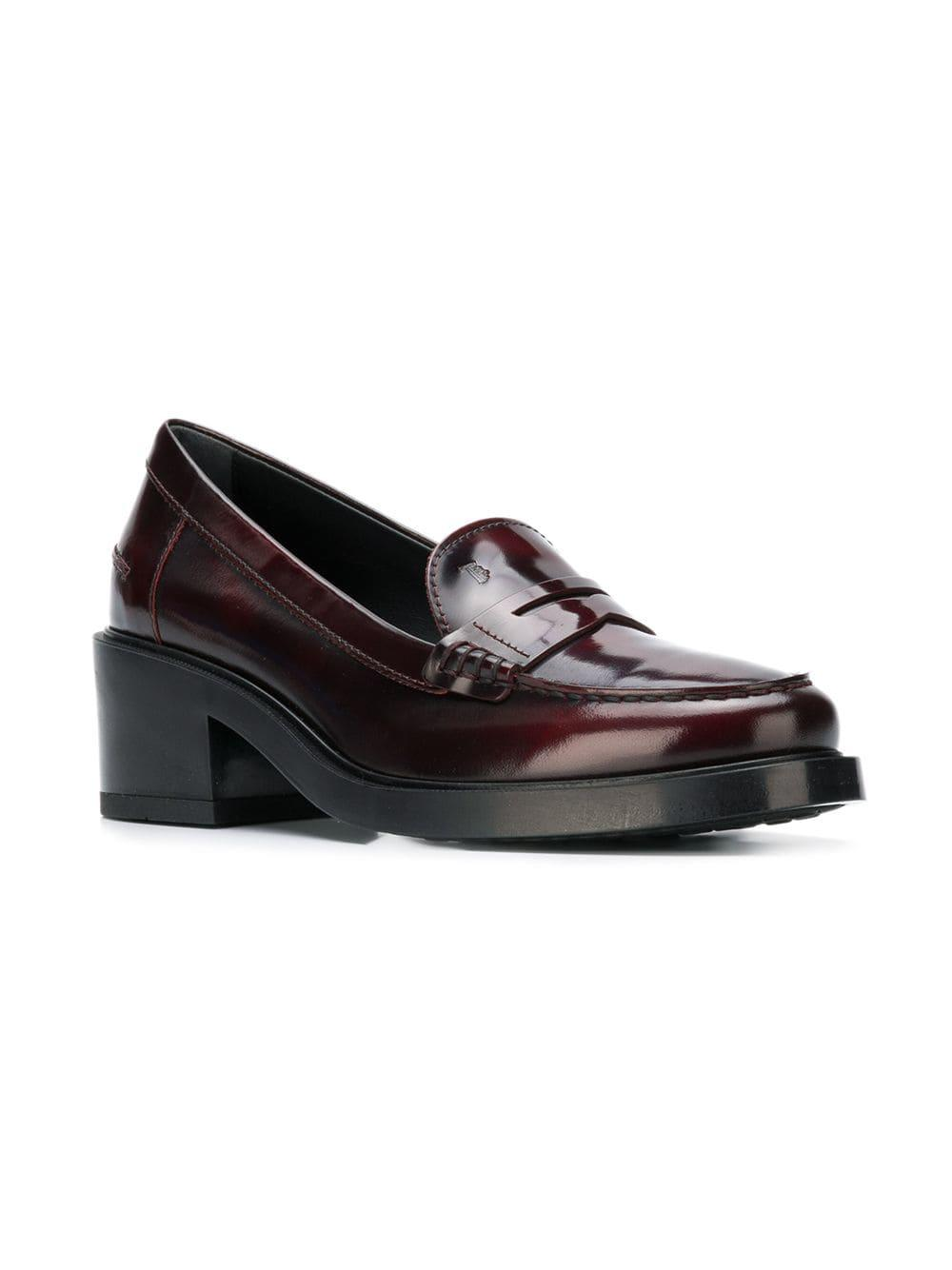 Tod's Leather Mid-heel Penny Loafers in Purple - Lyst