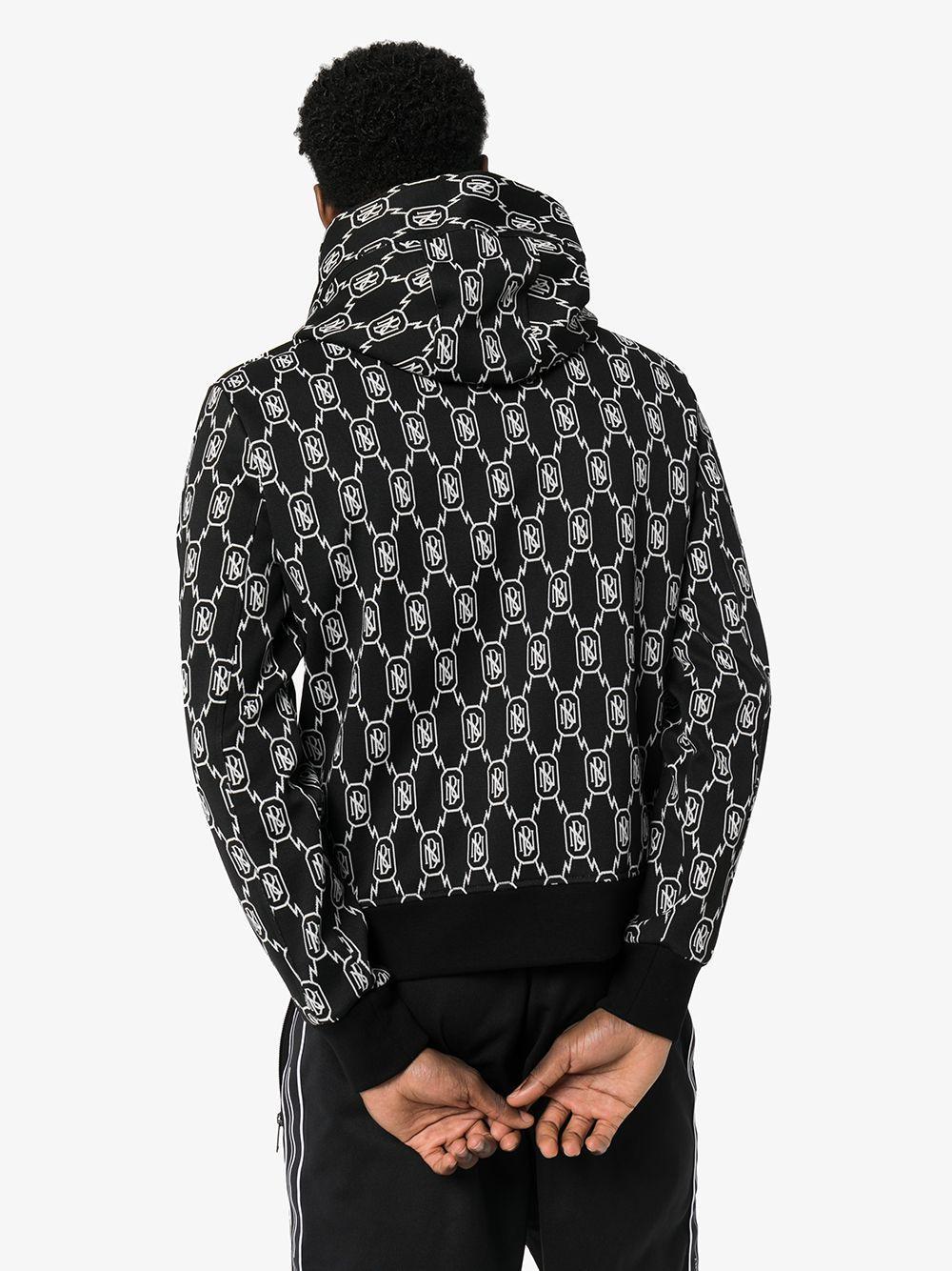 Neil Barrett Synthetisch Hoodie Met Monogram Print in het Zwart voor heren