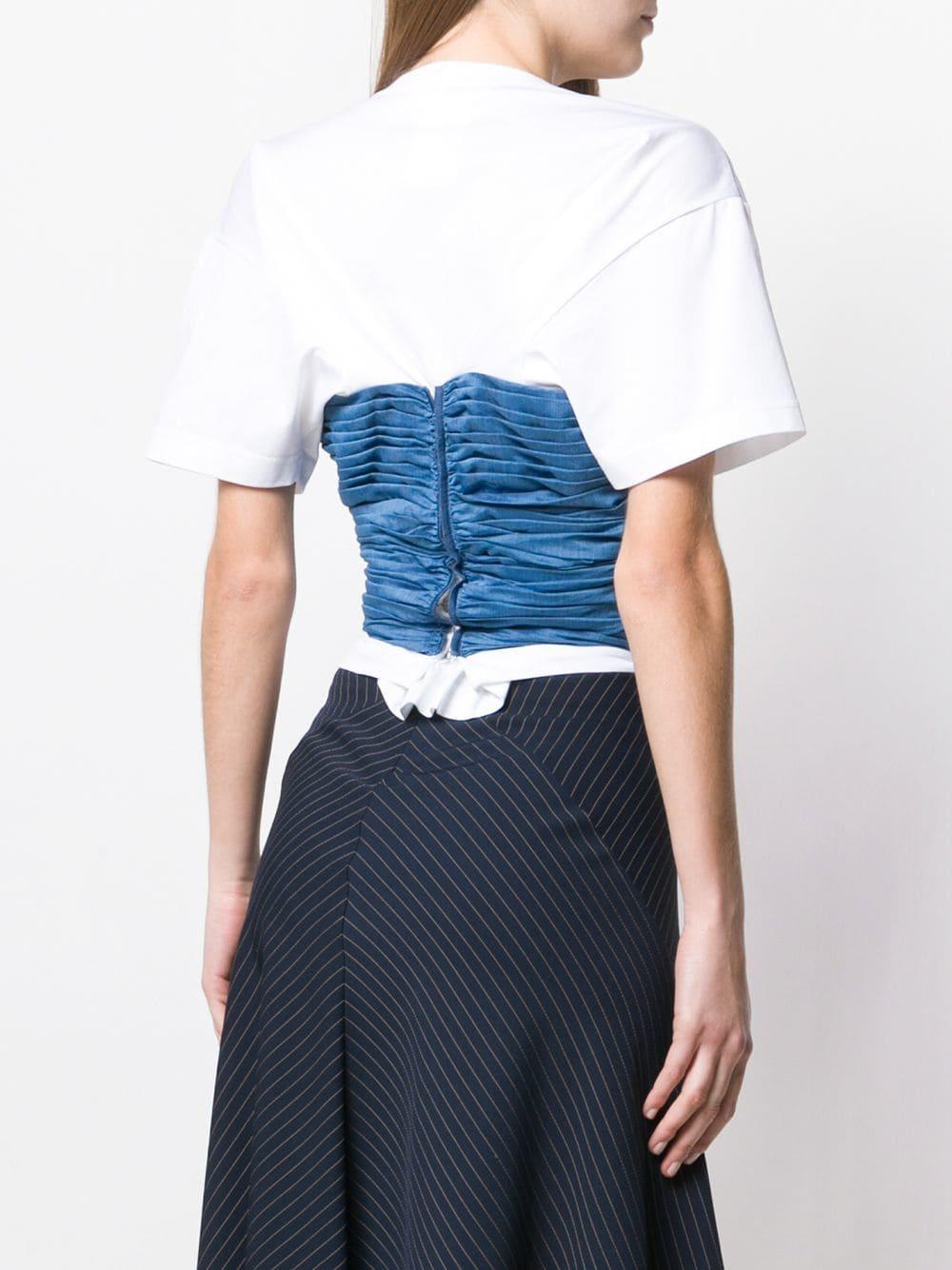 Camiseta con detalle fruncido en contraste Junya Watanabe de Algodón de color Blanco