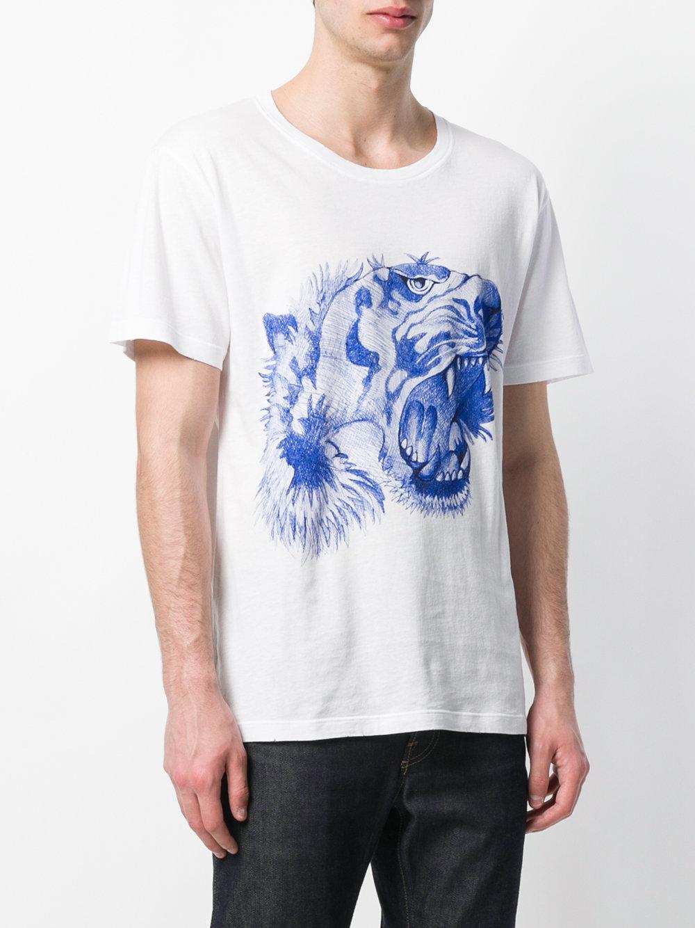 65f80cccdd6 Gucci - White Tiger s Head Print T-shirt for Men - Lyst. View fullscreen