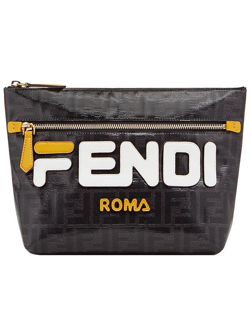 082bfe78 Lyst - Fendi Mania Logo Pouch in Black for Men