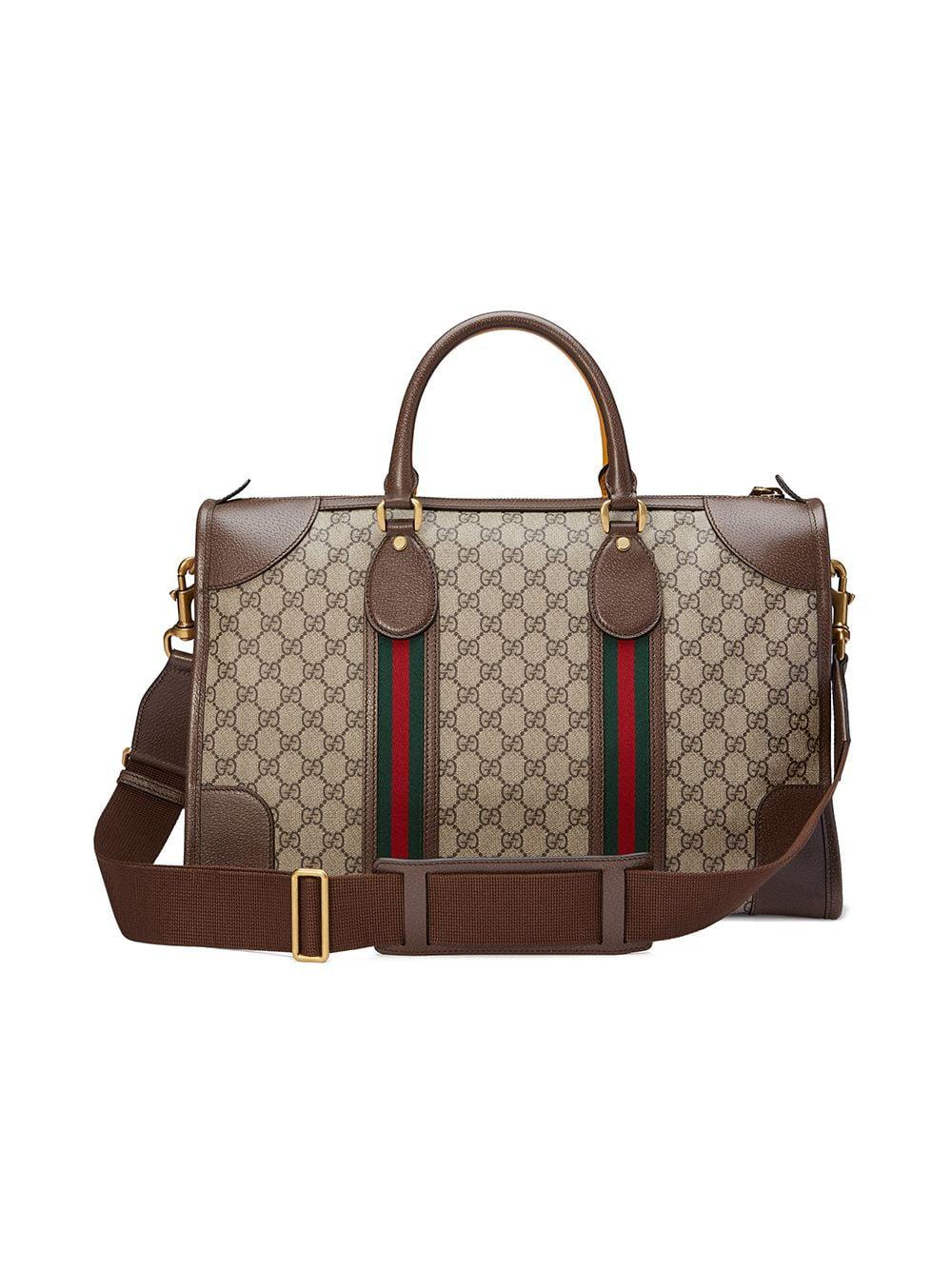 144ff9d9931 Gucci Soft GG Supreme Duffle Bag With Web in Brown - Lyst