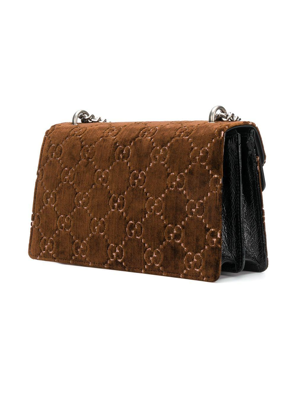 6b86e117b78 Gucci - Brown Dionysus GG Velvet Small Shoulder Bag - Lyst. View fullscreen