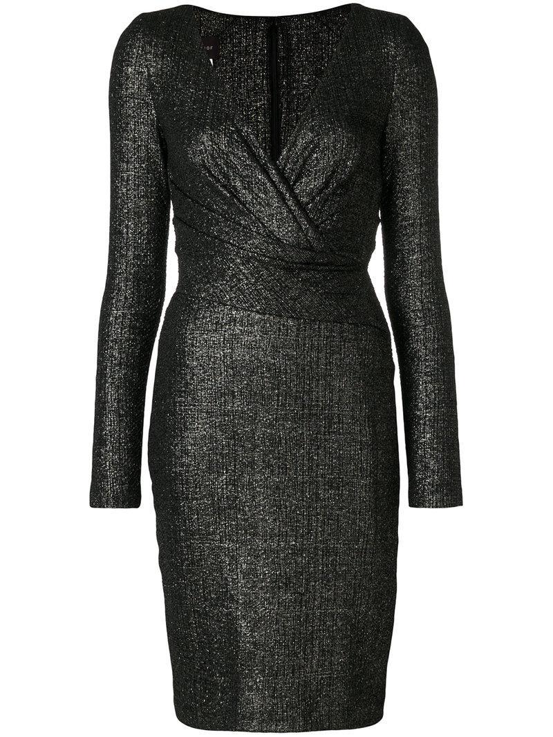 Shop Offer Cheap Online fitted v-neck dress - Black Talbot Runhof Free Shipping New JPHPpfWmXG