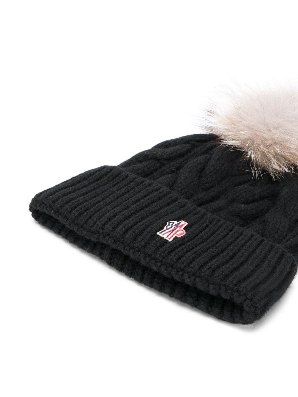 23aa4cb25 Women's Black Fox Fur Pom Pom Beanie Hat