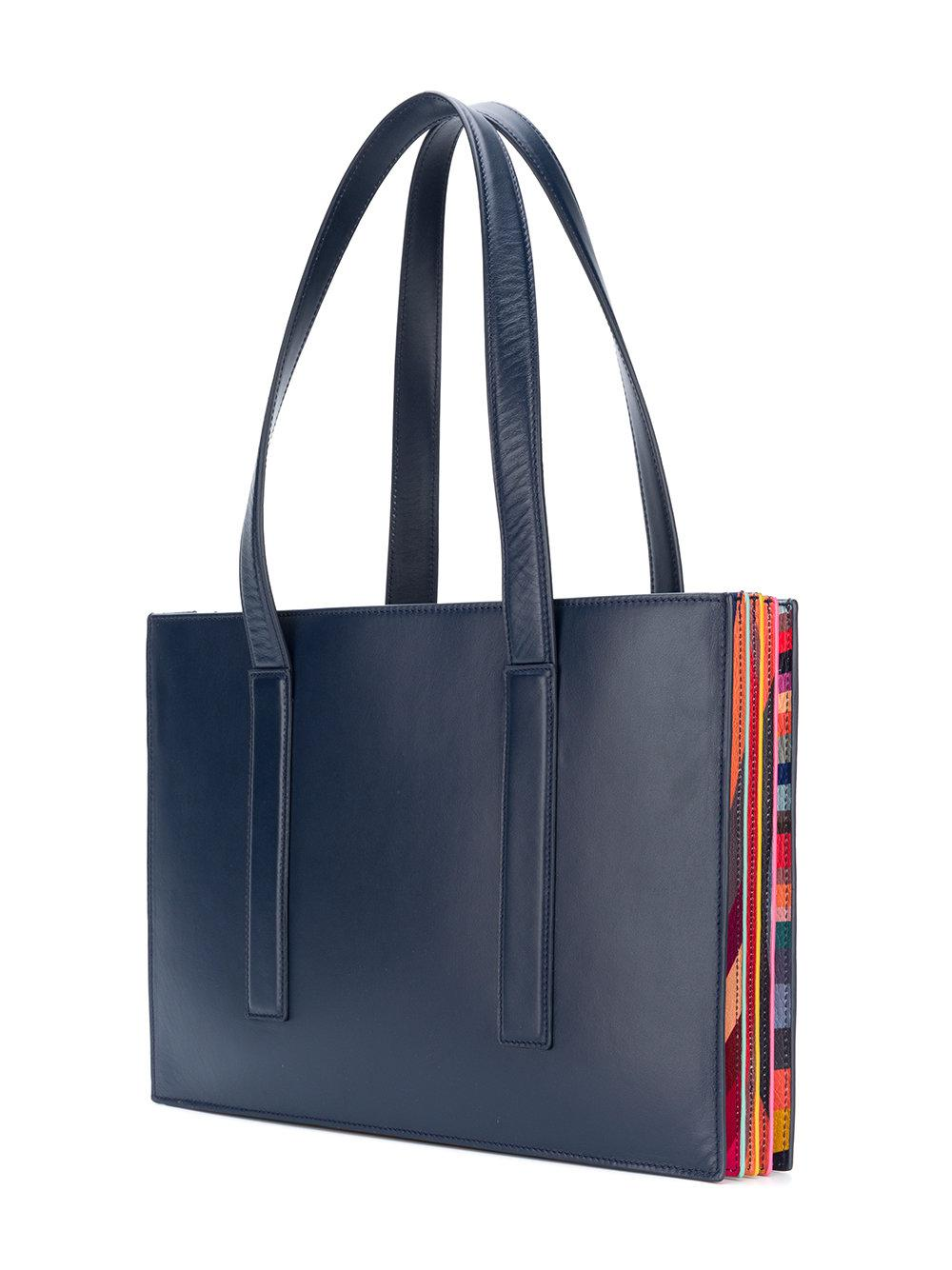 Paul Smith Leather Concertina Swirl Small Tote Bag in Blue