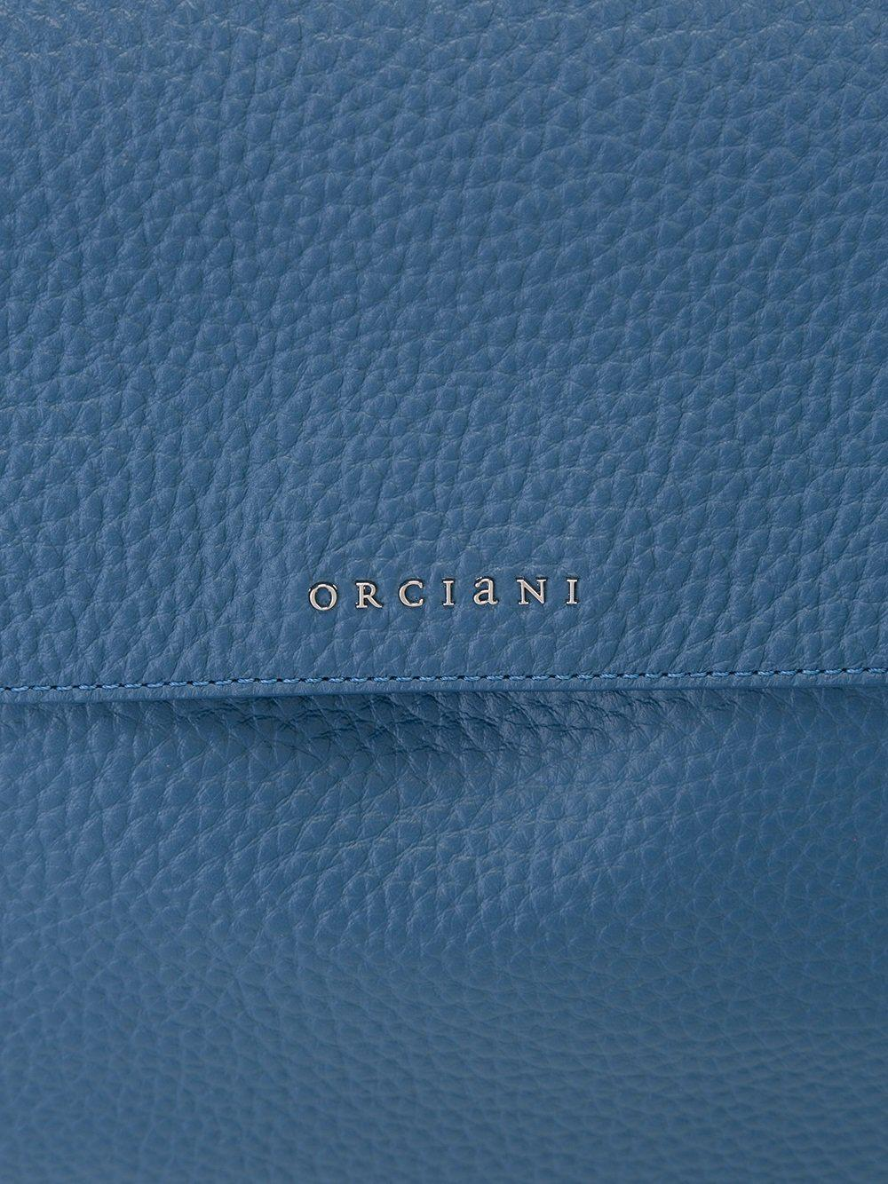 Orciani Satchel Leather Tote Bag in Blue