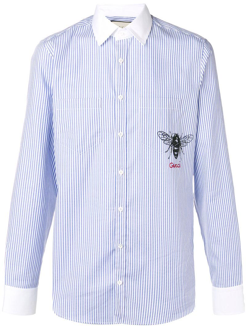 ae30f99d243 Gucci Striped Bee Print Shirt in Blue for Men - Lyst