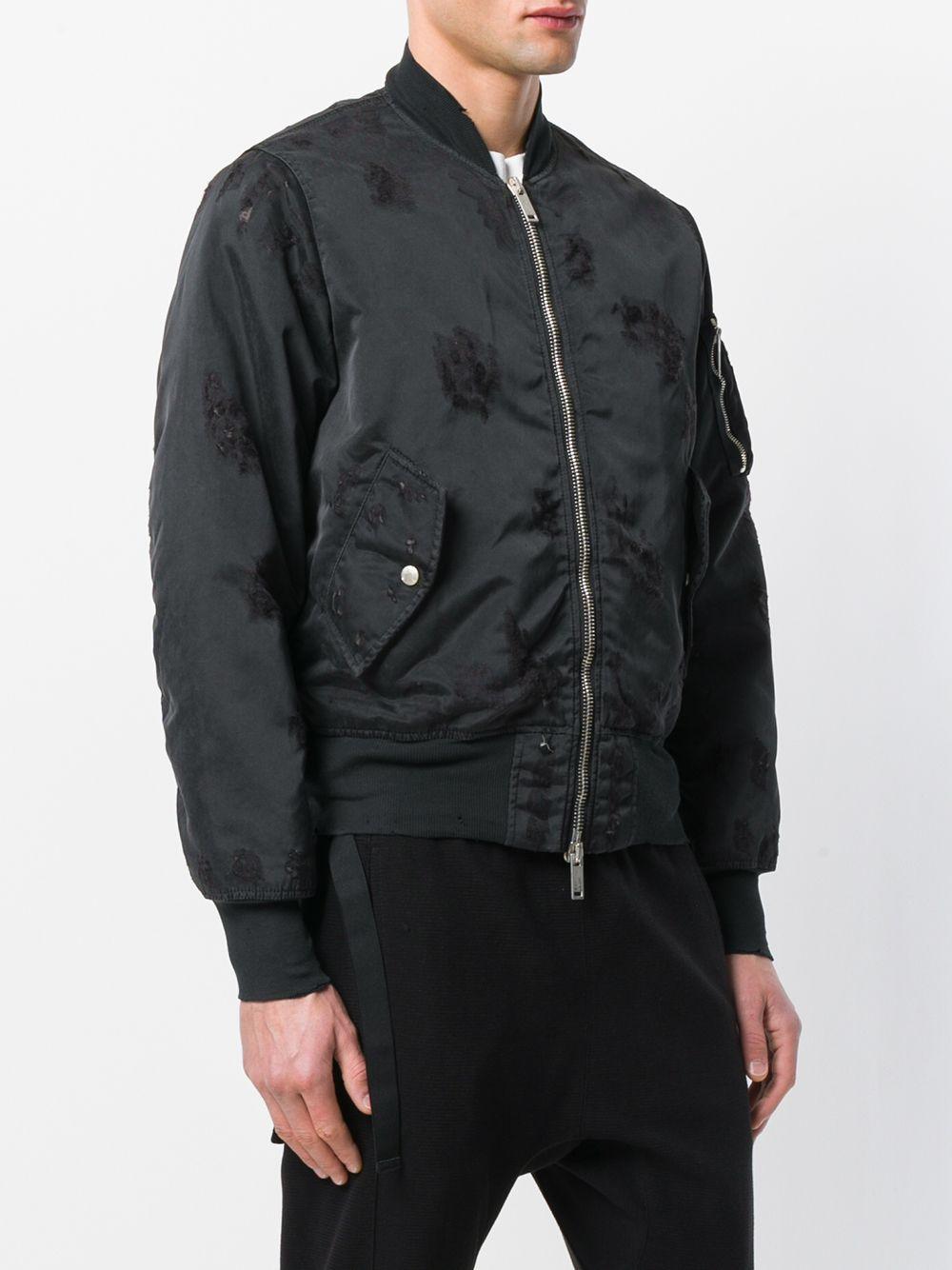 Unravel Project Synthetisch Distressed Basic Bomber Jacket in het Zwart voor heren