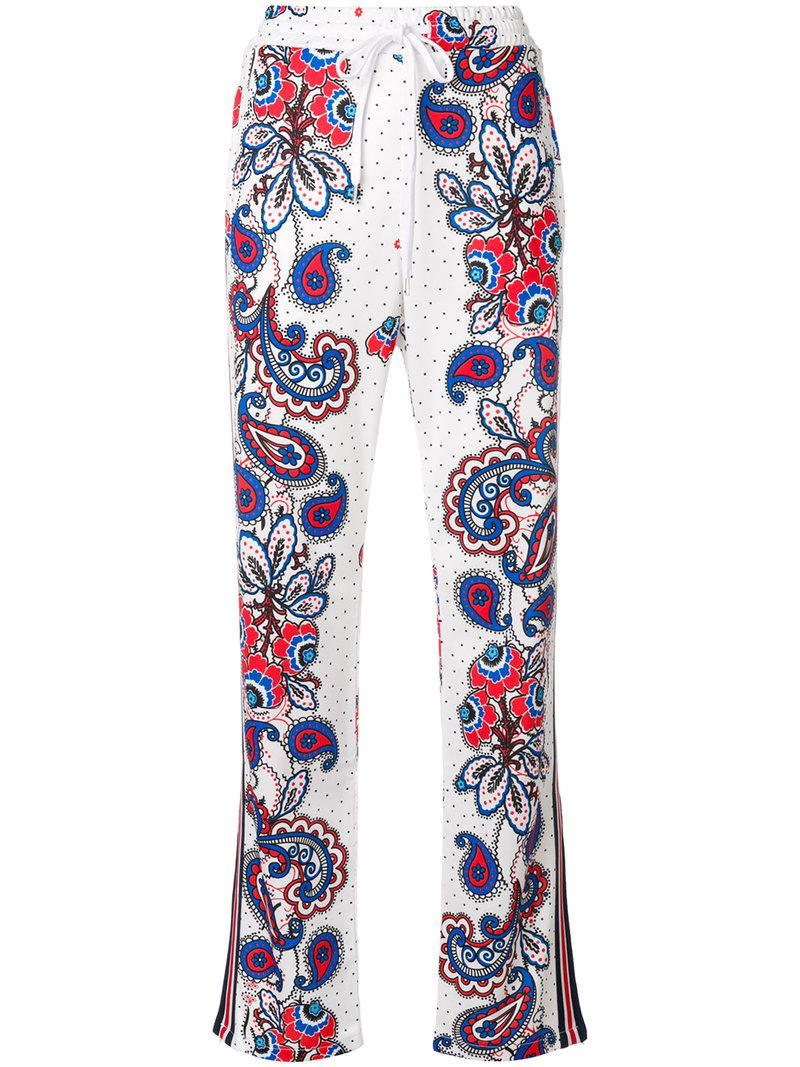 Many Kinds Of  paisley dotted track pants - White P.A.R.O.S.H. Where Can You Find Discount Finishline kYJwW0jBVS
