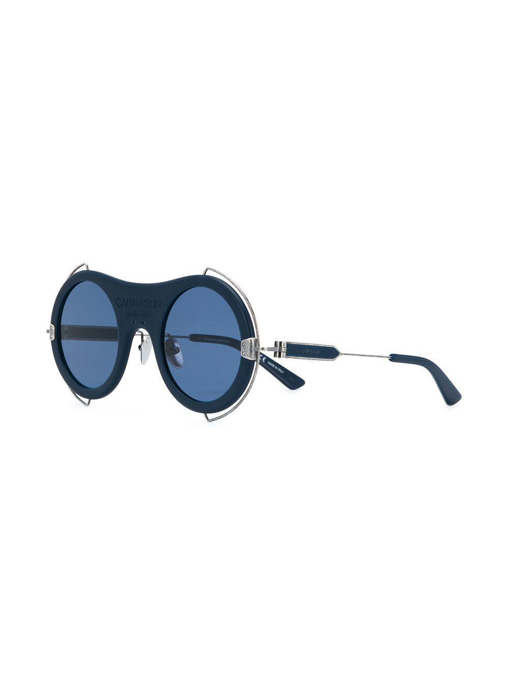 7b76d34d9 CALVIN KLEIN 205W39NYC Round Frame Sunglasses in Blue - Lyst