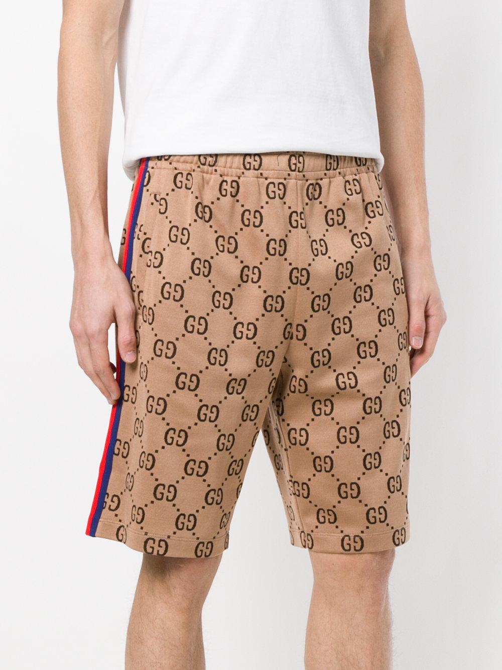 4dc8288f Gucci Brown Gg Jacquard Shorts for men
