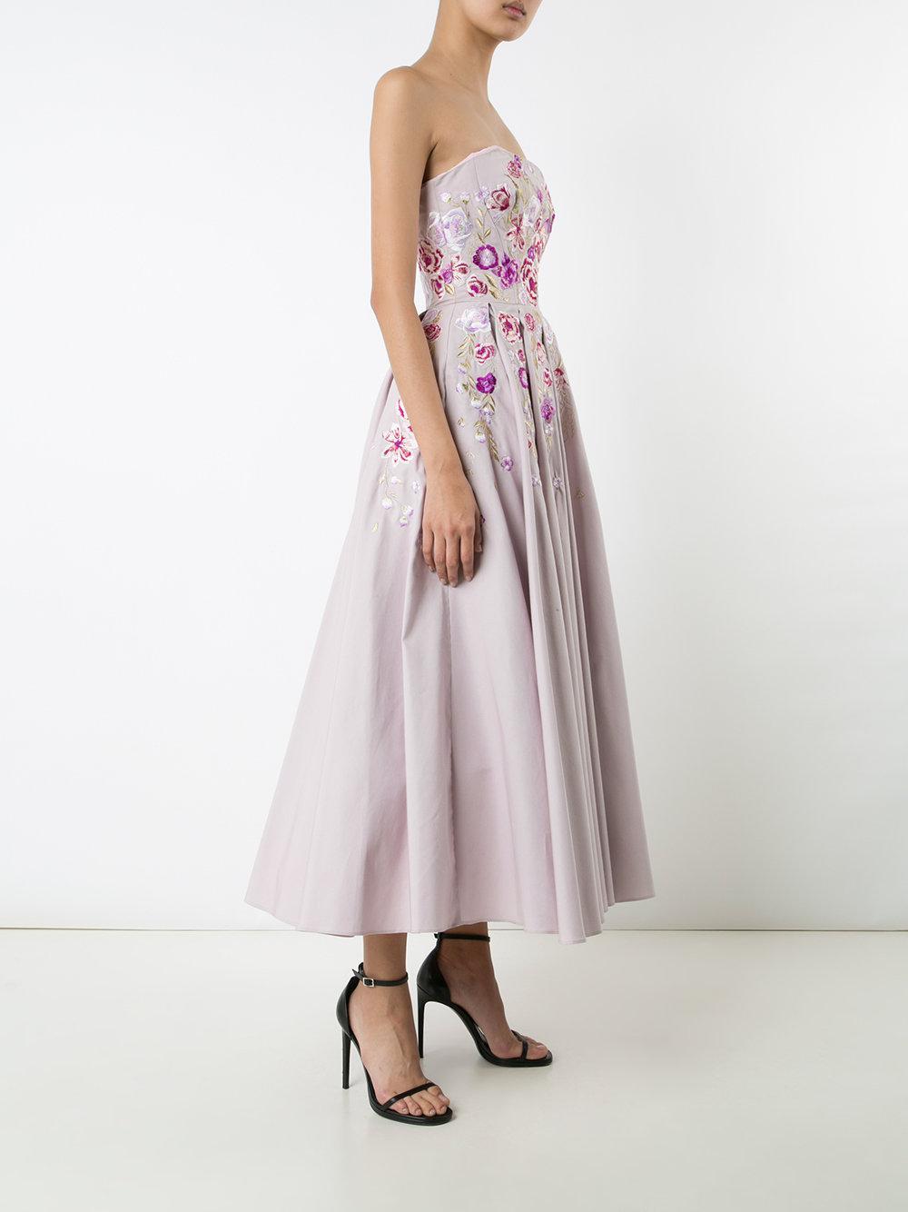 Marchesa notte Cotton Strapless Floral Print Dress in Pink & Purple (Pink)