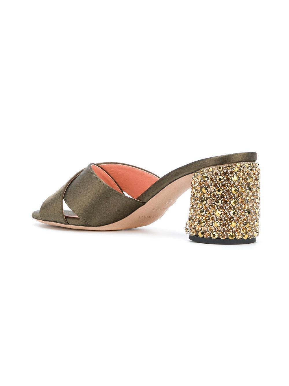 cross strap embellished sandals - Green Rochas AFdkdn