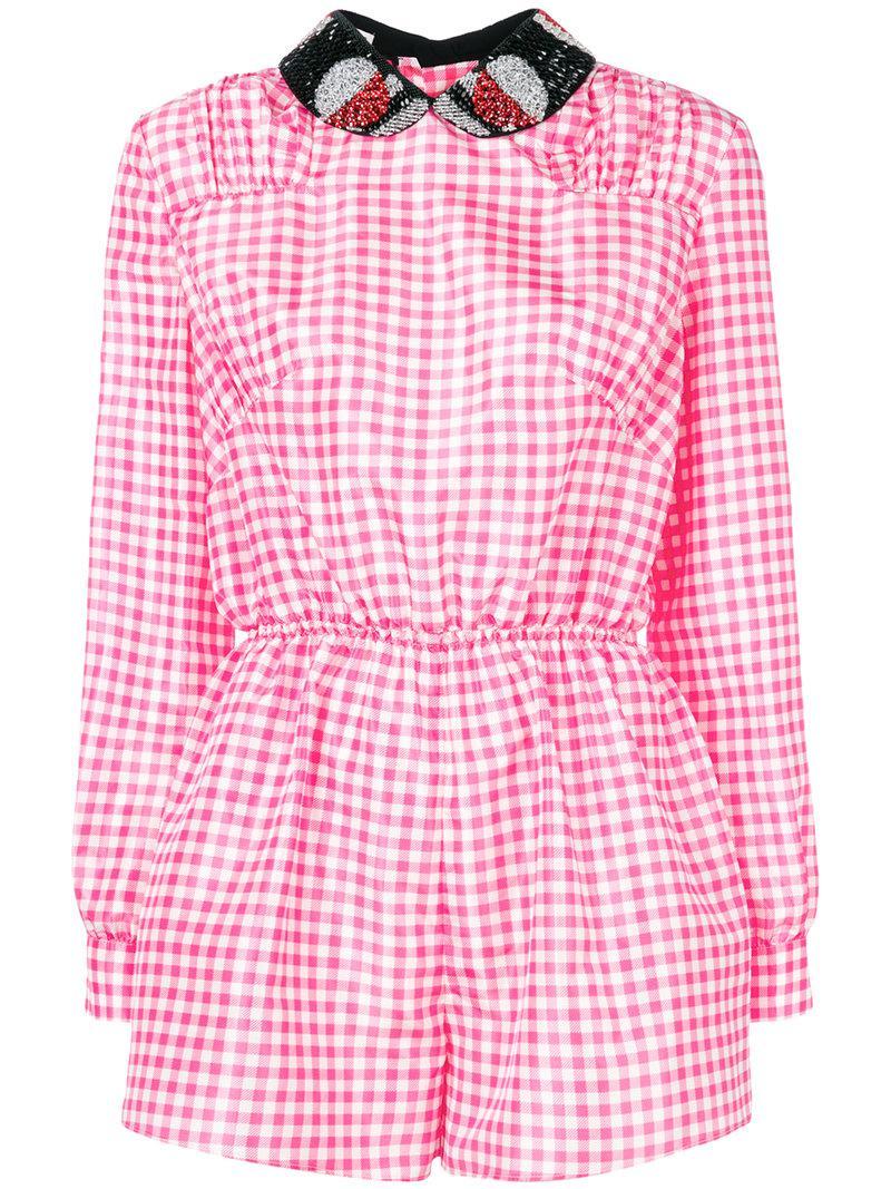ebb41ac336 Miu Miu Checked Playsuit in Pink - Lyst