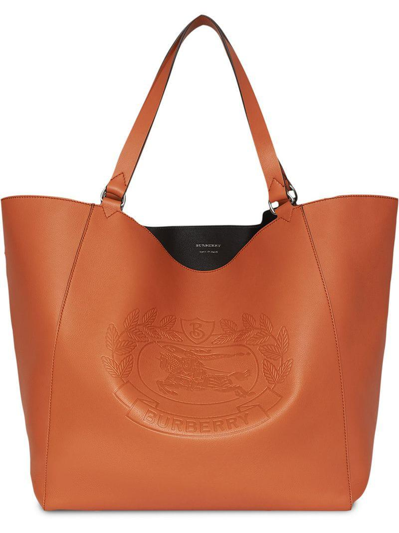 dc8b6ba48a62 Burberry Large Embossed Crest Bonded Leather Tote in Brown for Men ...