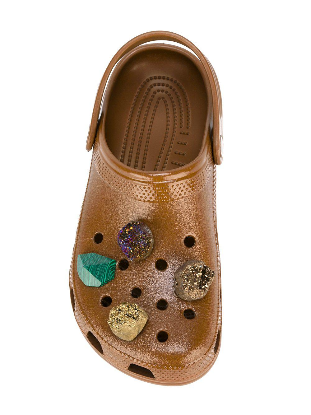72d42984eeced Lyst - Christopher Kane Stone Embellished Crocs Clogs in Brown