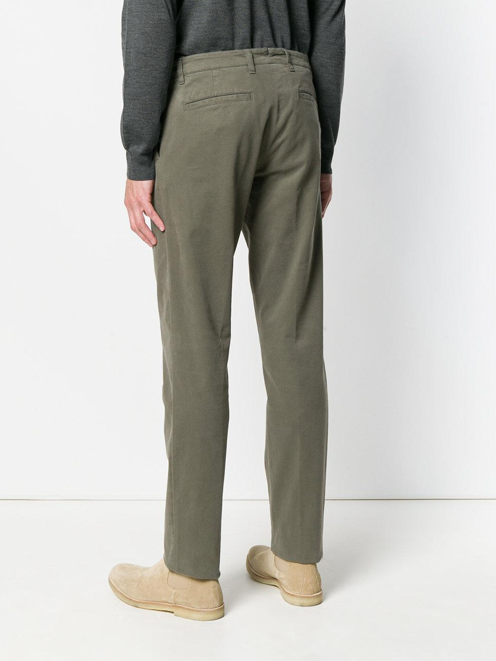 Eleventy Cotton Slim Trousers in Green for Men