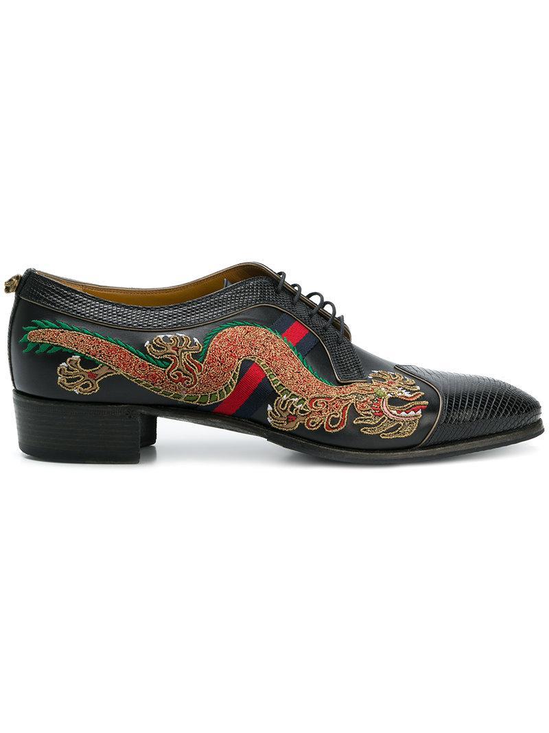 Lyst - Zapatos con dragón bordado Gucci de hombre de color Negro 31da87256e0