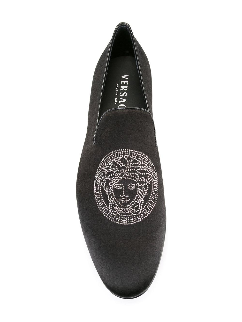 Versace Leather Crystal Medusa Head Loafers in Black for Men