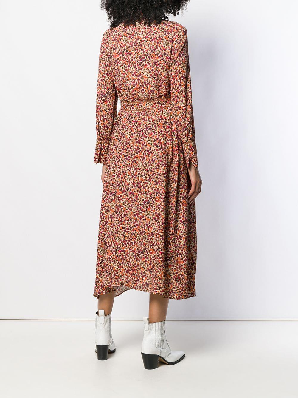 Robe mi-longue à fleurs Luisa Cerano en coloris Rose