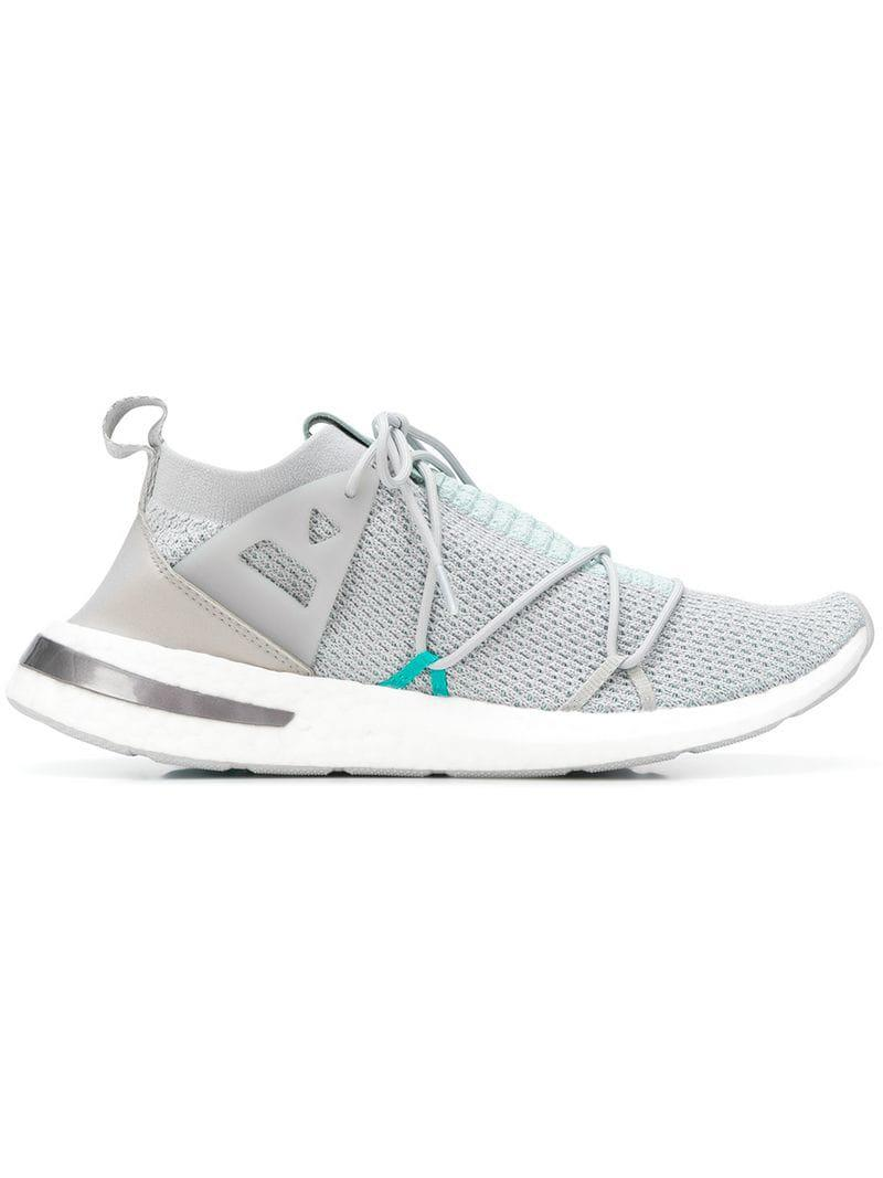 ddf5313f6411 adidas Sock Lace-up Sneakers in Gray - Lyst