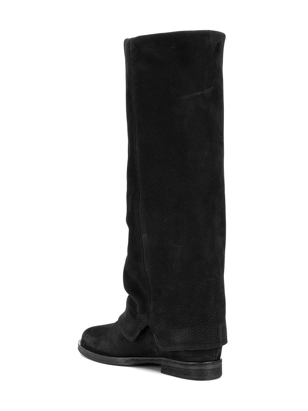 Via Roma 15 Leather Foldover Riding Boots in Black