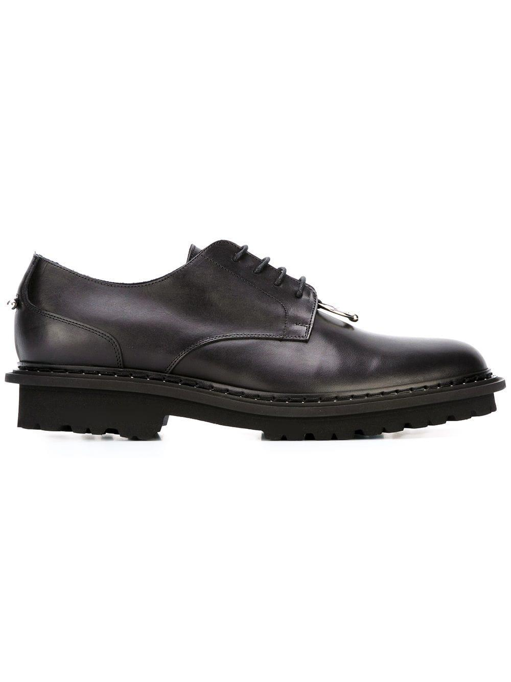 Neil Barrett Leather Piercing Detail Derby Shoes in Black for Men