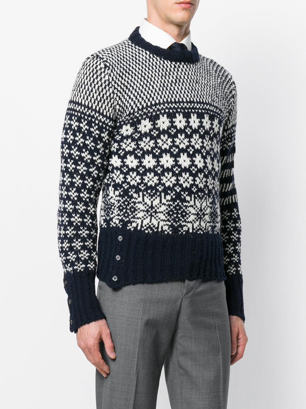 Thom Browne Snowflake Intarsia Wool And Mohair-blend Jumper in Navy (Blue) for Men