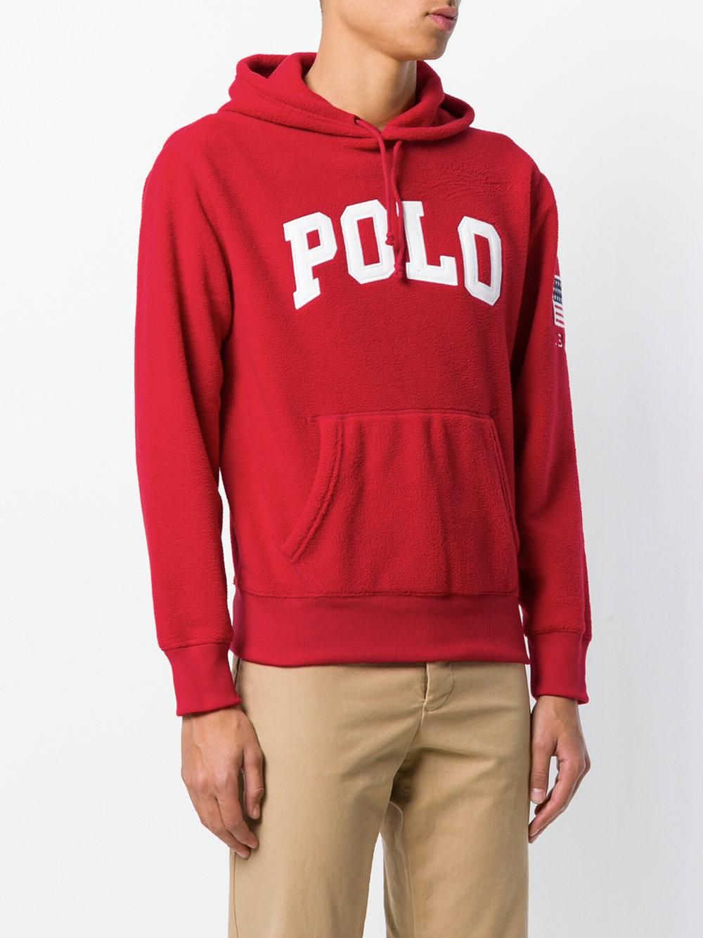 lyst polo ralph lauren branded hoodie in red for men. Black Bedroom Furniture Sets. Home Design Ideas