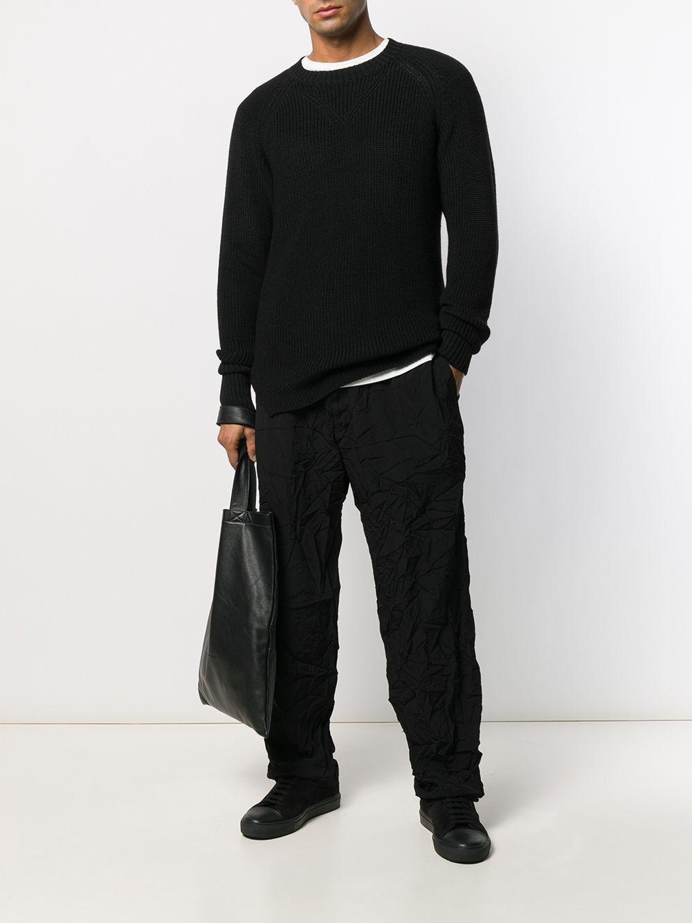 Yohji Yamamoto Wol Geribbelde Trui in het Zwart voor heren