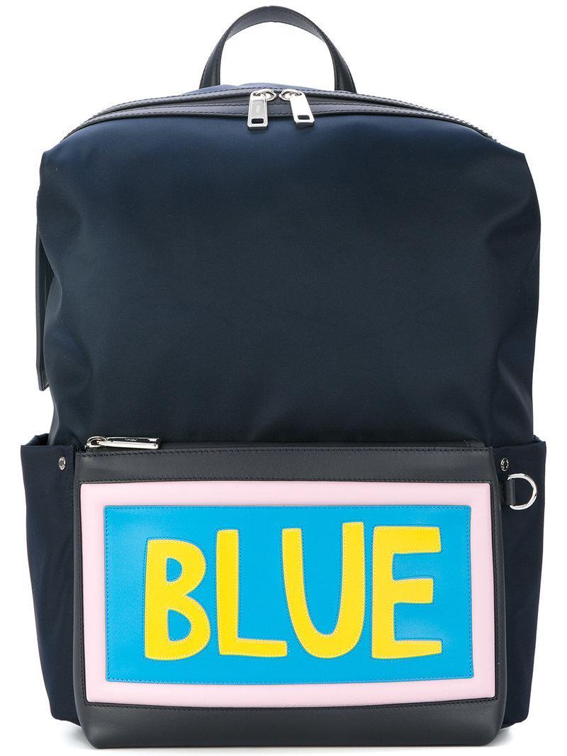 0afefc8c9913 Lyst - Fendi Blue Slogan Patch Backpack in Blue for Men