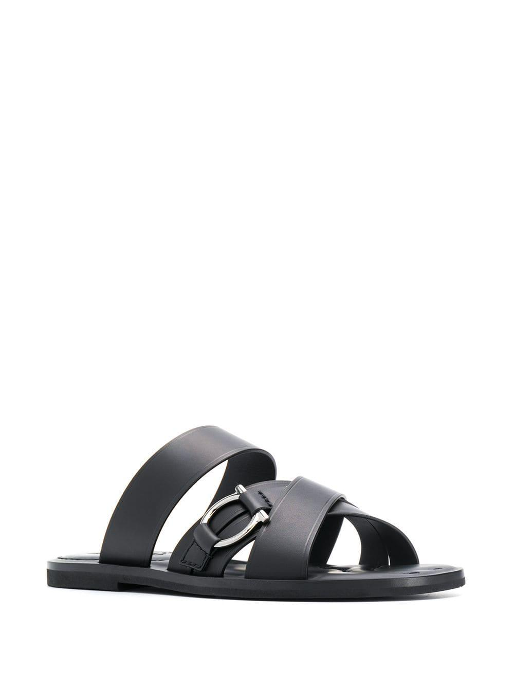 6d661bc36813 Lyst - Ferragamo Leather Sandals in Black for Men