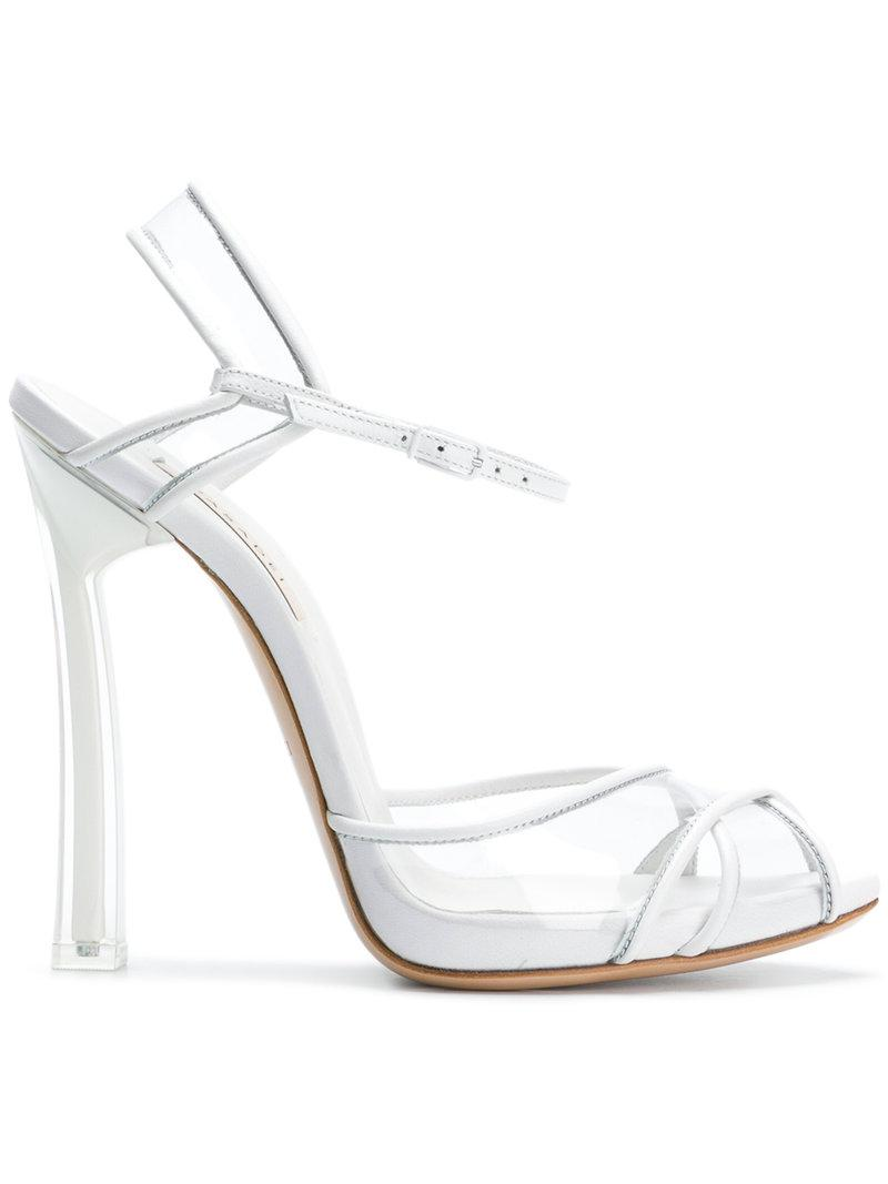 peep toe sandals - White Casadei View For Sale Cheap Big Sale Cheap Price Top Quality IWJEP2W