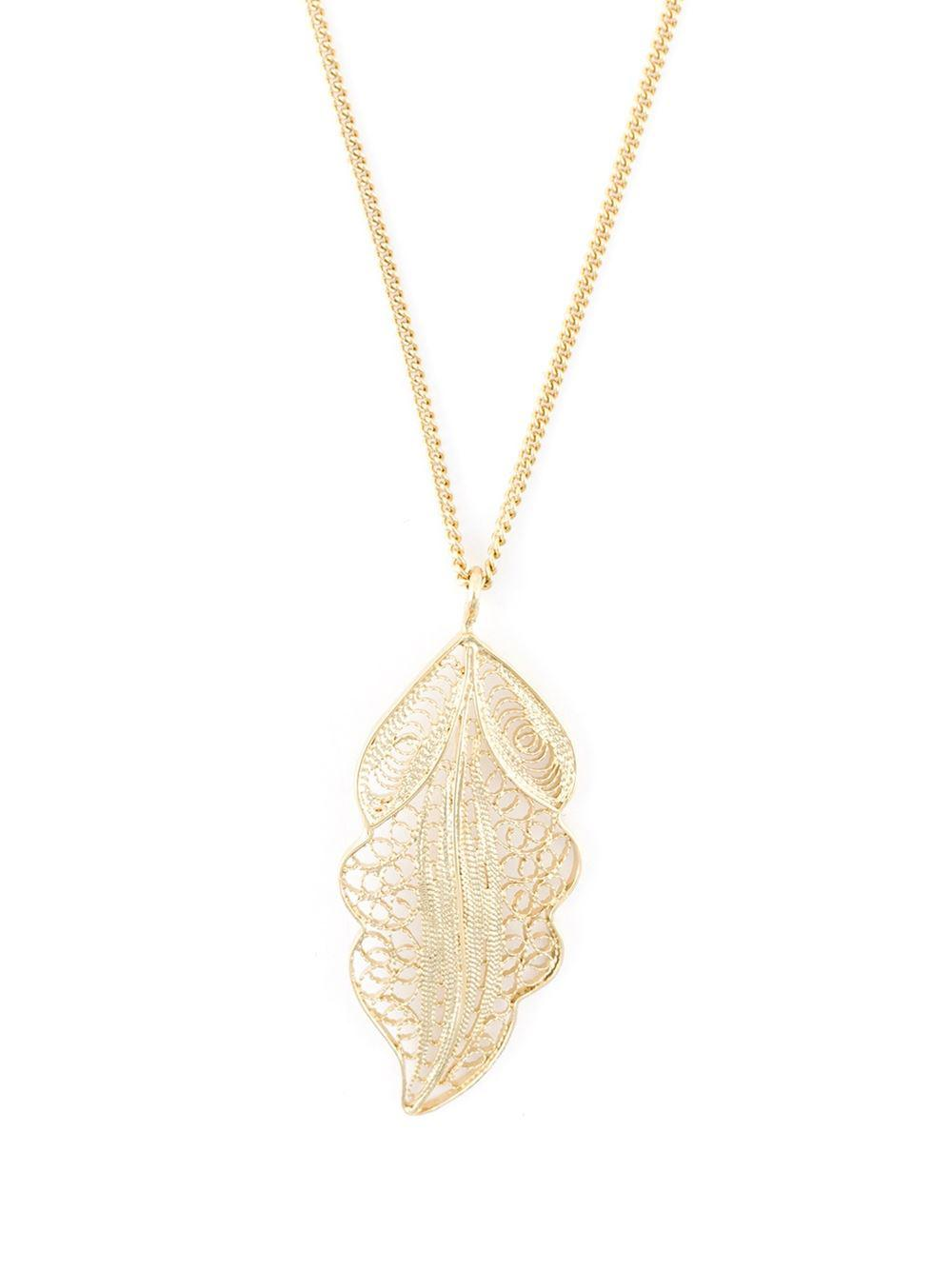Wouters & Hendrix Filigree Leaf Pendant Necklace in Metallic (Blue)