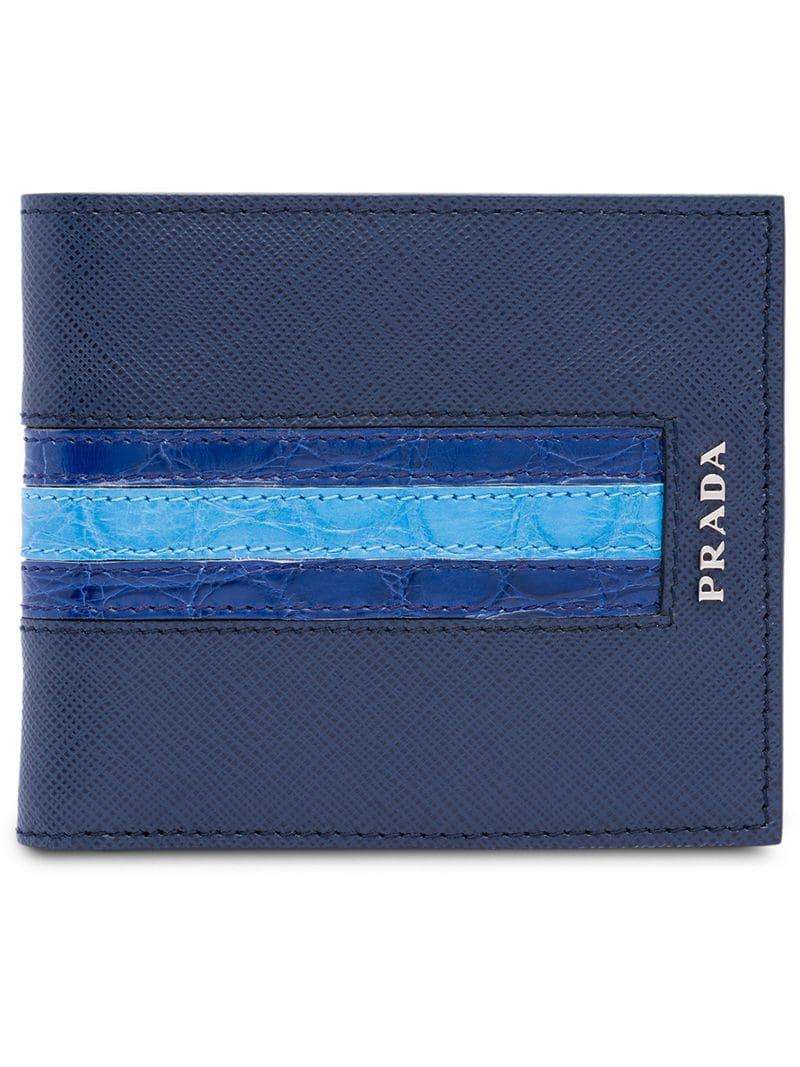 15620e1eb9a977 Prada - Blue Saffiano Bifold Wallet for Men - Lyst. View fullscreen