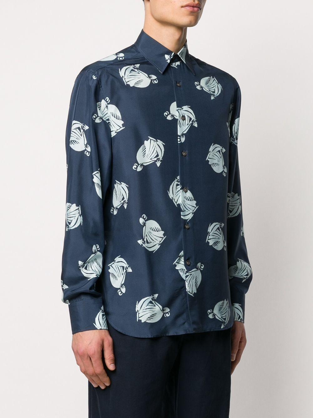 Lanvin Overhemd Met Logoprint in het Blauw voor heren
