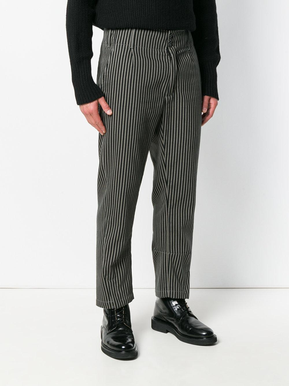 Ann Demeulemeester Cotton Striped Trousers in Black for Men
