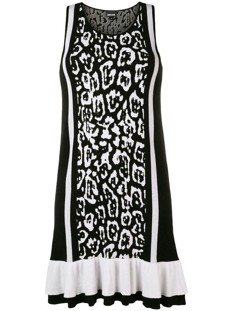 69a23ce05f Lyst - Just Cavalli Leopard Print Mini Dress in Black