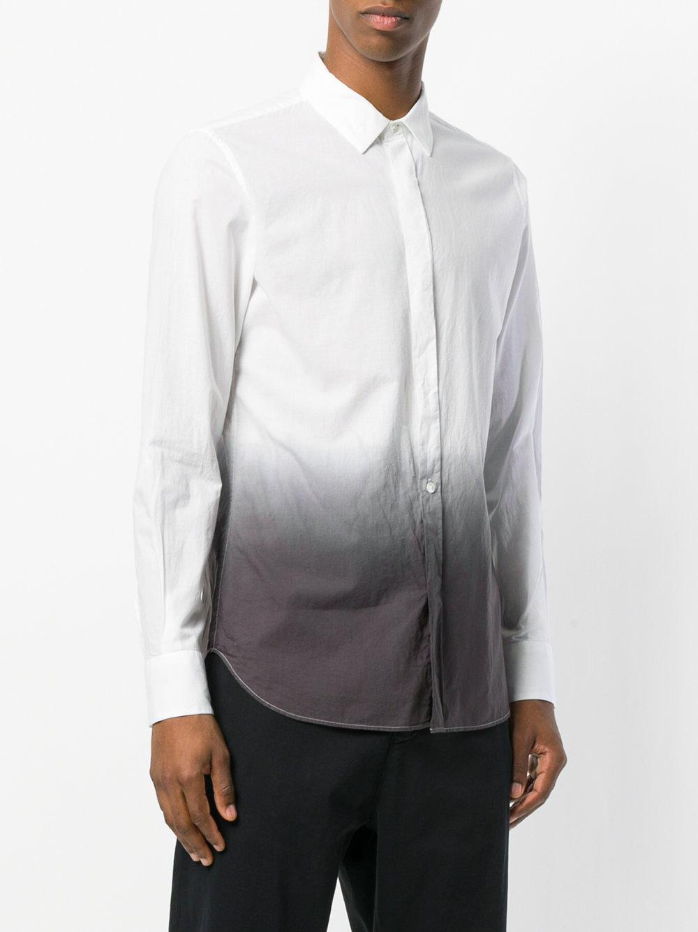 Ann Demeulemeester Grise Cotton Ombre Dip-dye Shirt in White for Men