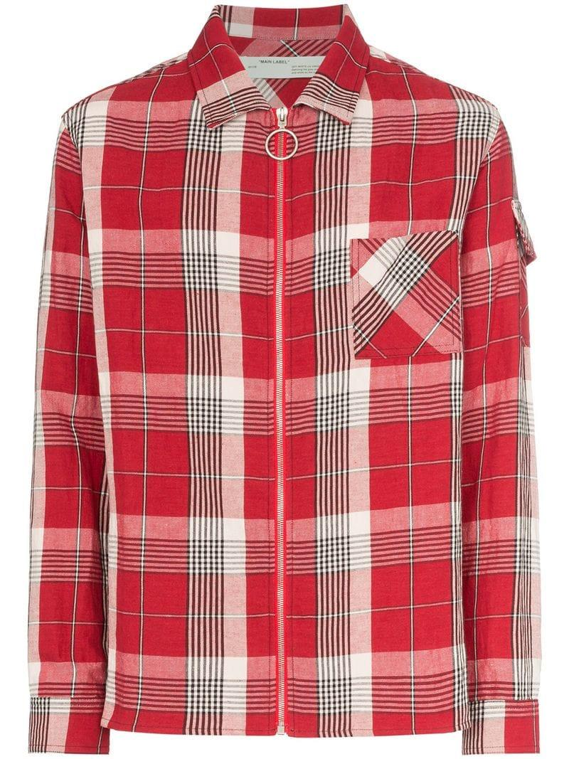 8aab649ba6b8 Lyst - Off-White c o Virgil Abloh Checked Shirt in Red for Men ...