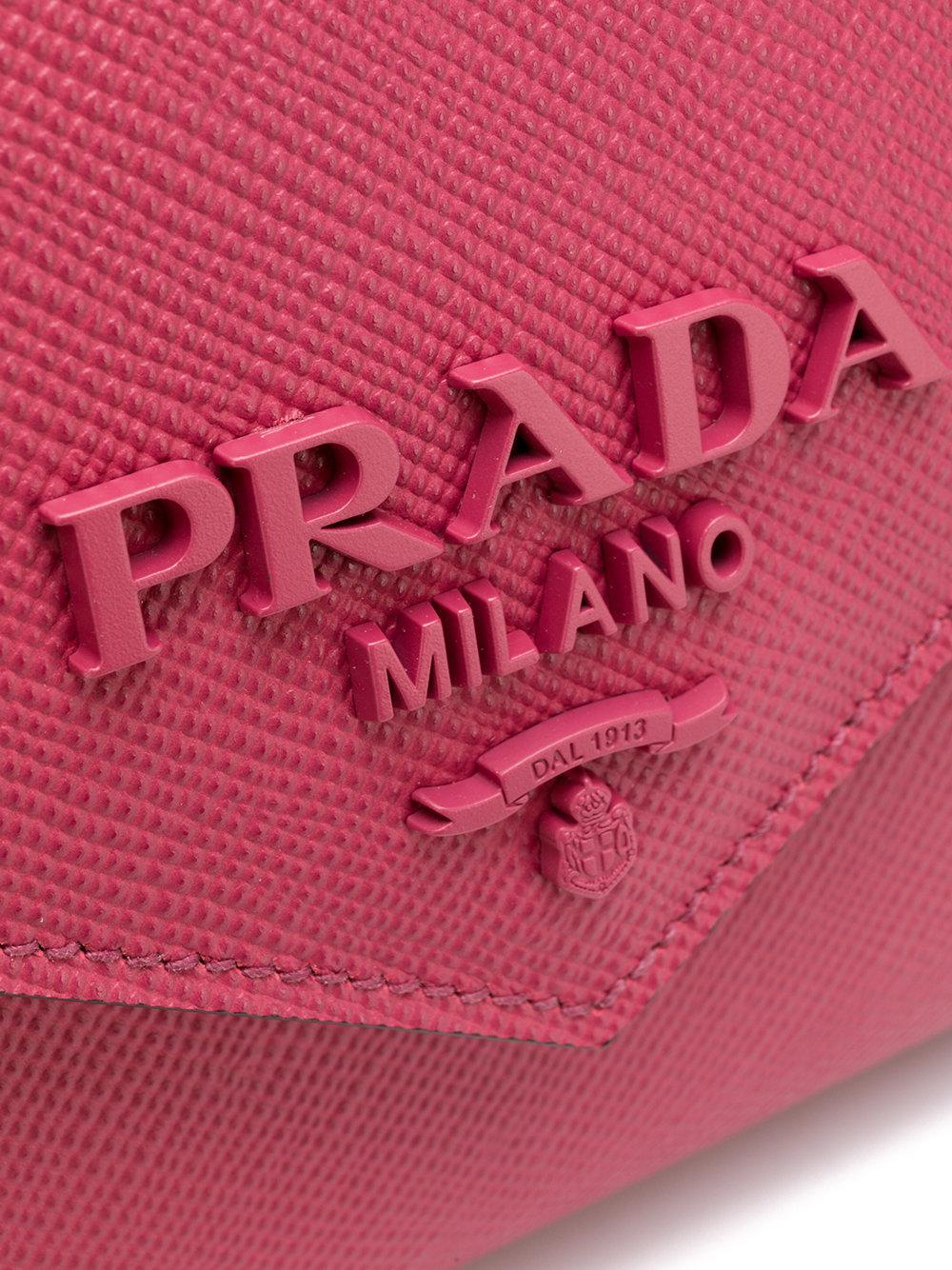 Prada Leather Monochrome Saffiano Crossbody Bag in Pink & Purple (Pink)