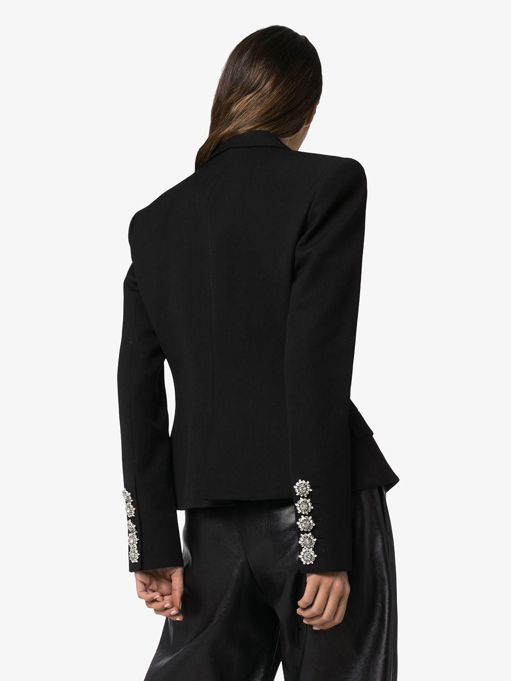 Blazer à revers crantés et boutons en cristal Satin Alexandre Vauthier en coloris Noir