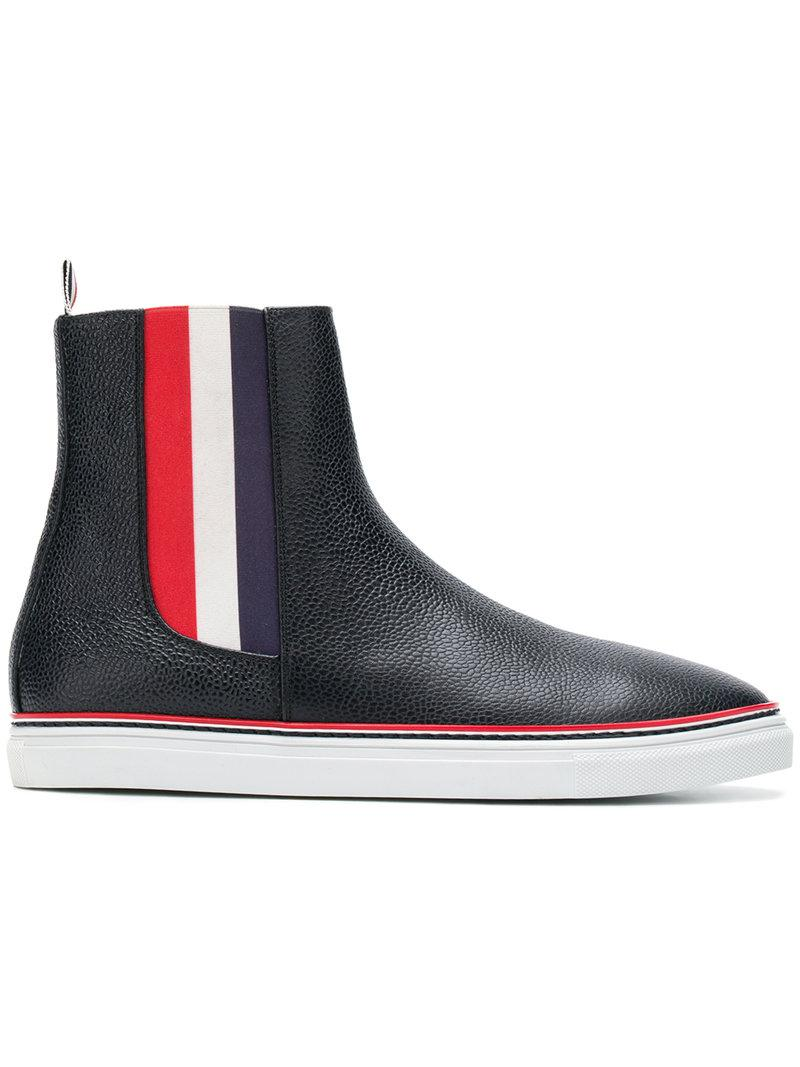 Striped Elastic Chelsea Hi-Top Leather Trainer - Blue Thom Browne