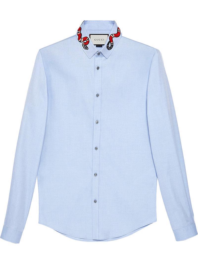 cdb9f420622 Lyst - Chemise à serpent brodé Gucci pour homme en coloris Bleu