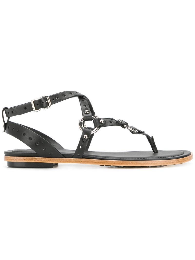 d19c6acbe Tod s Crisscross Strap Sandals in Black - Lyst