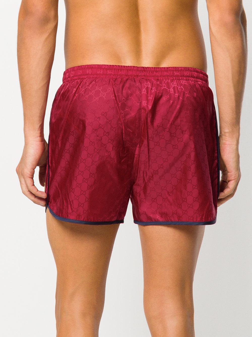 bebad0b8d0 Gucci Gg Supreme Swim Shorts in Red for Men - Lyst