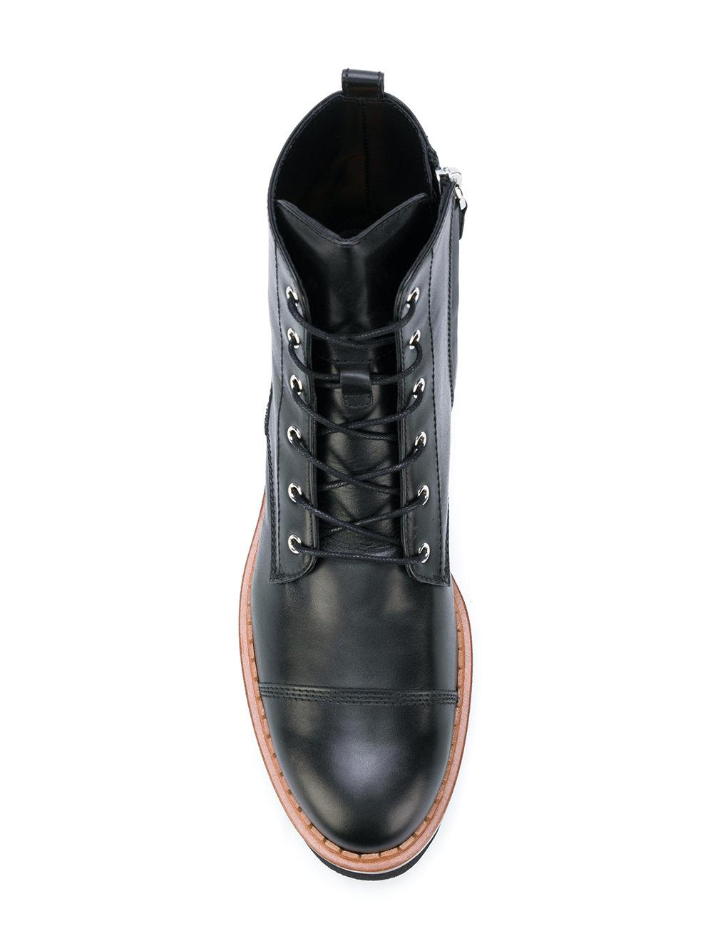 Tod's Leather Lace-up Platform Boots in Black